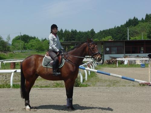 熱心な女子会員の騎乗、うまくなってきたね
